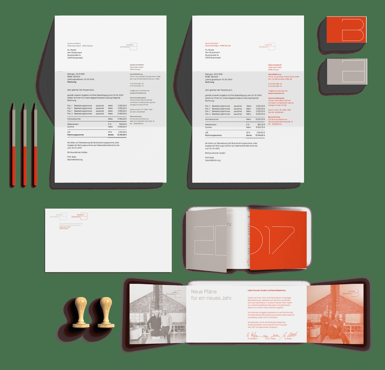 Geschäftsausstattung | Corporate Design Architektur- und Bauphysik-Büro bauplus – ZWEIPRO Werbeagentur für Architekten