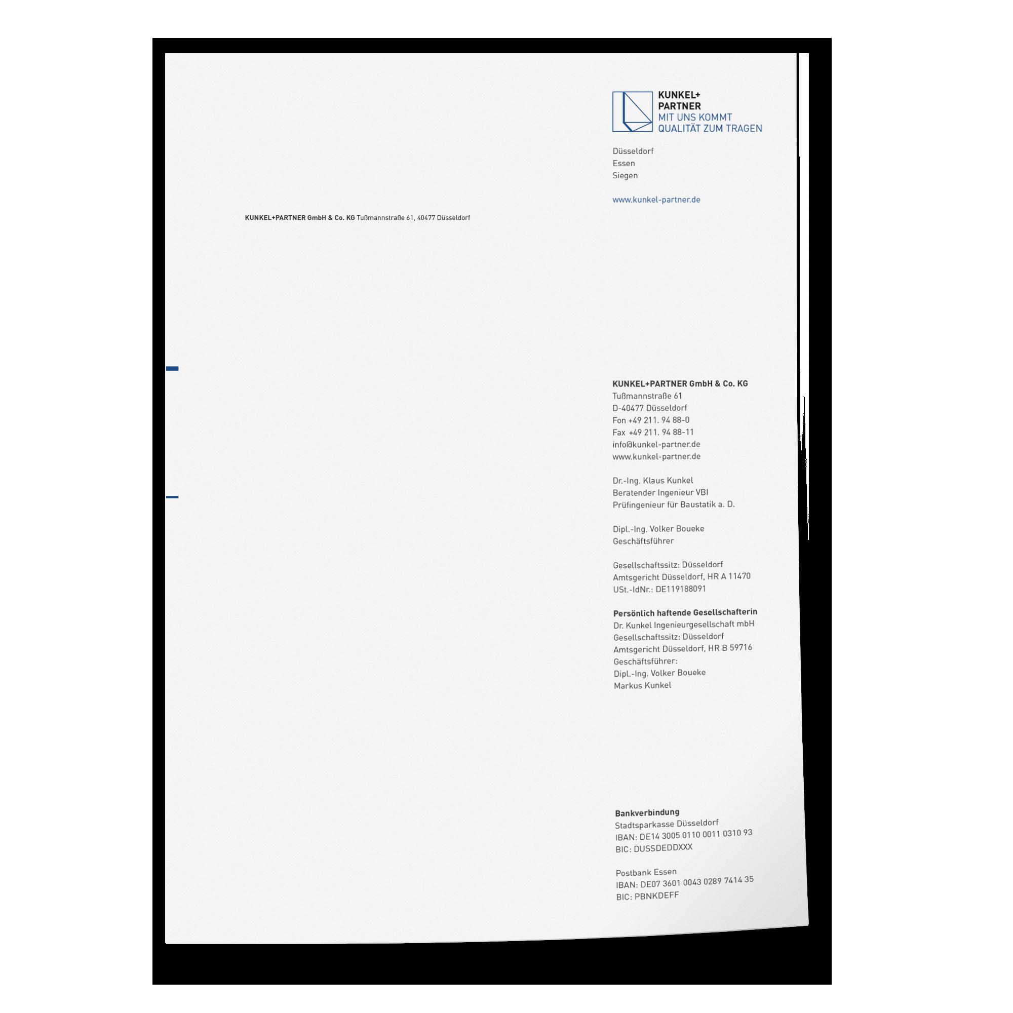 Geschäftsausstattung | Corporate Design Kunkel + Partner – ZWEIPRO Werbeagentur für Ingenieure