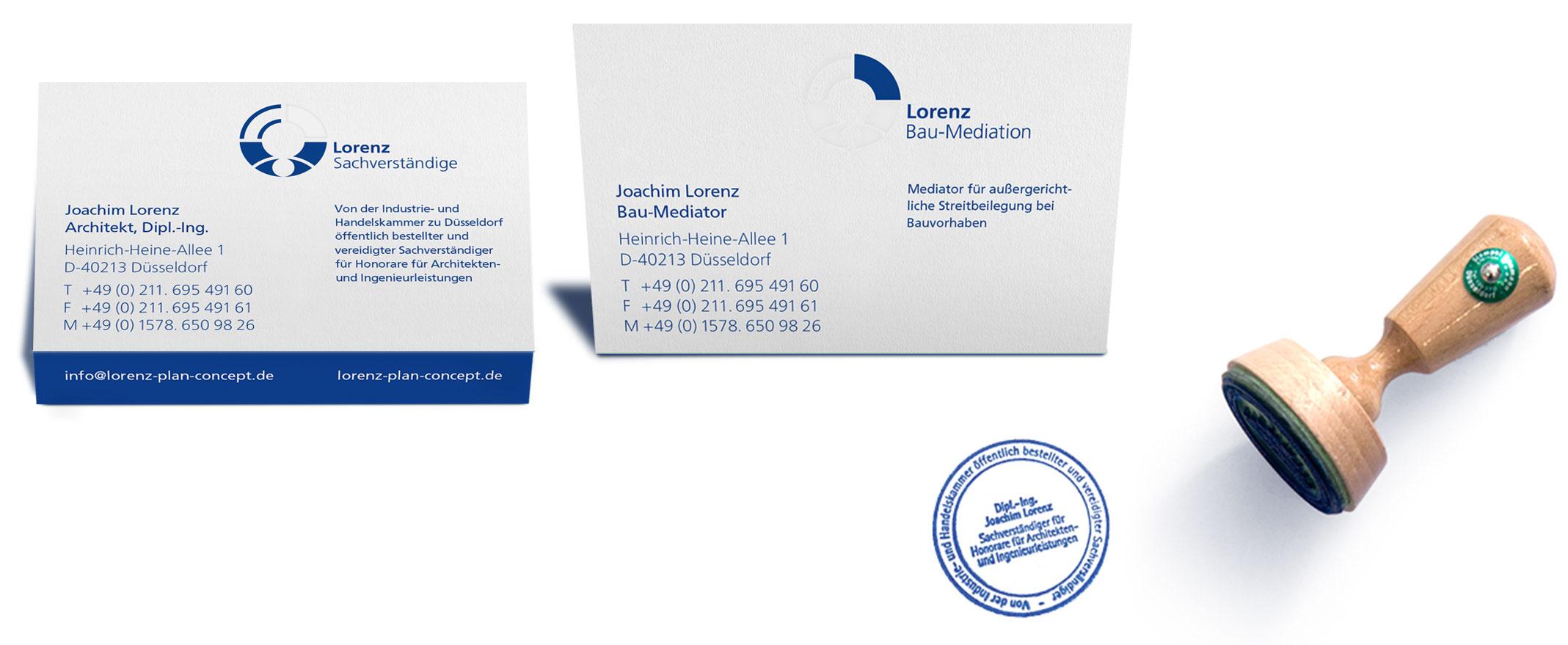 Printmedien | Corporate Design Sachverständigen und Bau-Mediation Lorenz – ZWEIPRO Kreativagentur Düsseldorf